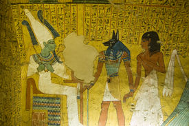 pic of underworld  - The King of the Underworld - Osiris is presented with the noble Irynefer by Anubis, god of mummification. Wall painting in the Ancient Egyptian tomb of Irynefer at Deir el Medina near Luxor, Egypt.
