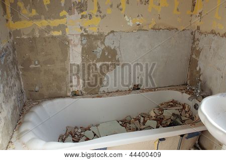 Bath Full Of Old Tiles