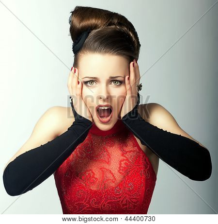 Expressive Emotions. Bemused Woman's Face With Opened Mouth. Stare