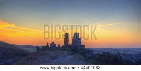 Winter Pre-dawn Panorama Landscape Sunrise Over Castle Ruins