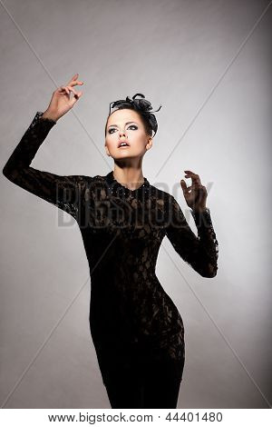 Charm. Elated Delightful Woman In Stylized Black Dress. Nostalgia