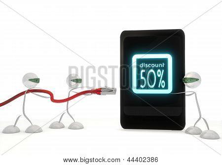 icono de descuento en un teléfono inteligente con tres robots