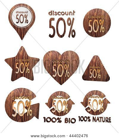 discount symbol set of wooden 3d buttons