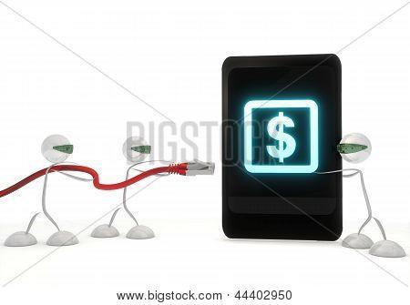 Dollar symbol on a smart phone with three robots