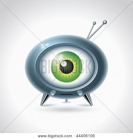 Big brother is watching you. Retro TV on white background. Vector character design.