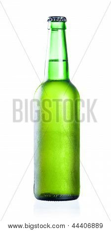 Cold Chilled Beer In Green Bottle With Condensate Isolated On A White Background