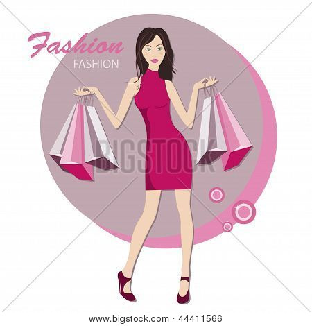 Fashionable woman with bags for buy