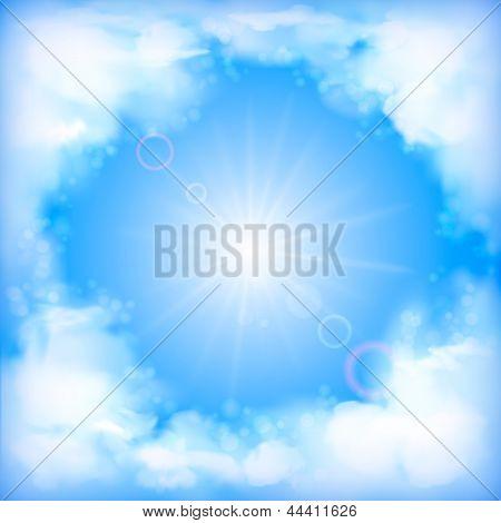 Diseño vectorial de cielo, nubes blancas, el sol, desenfoque