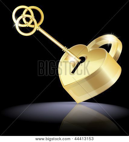 golden key and lock