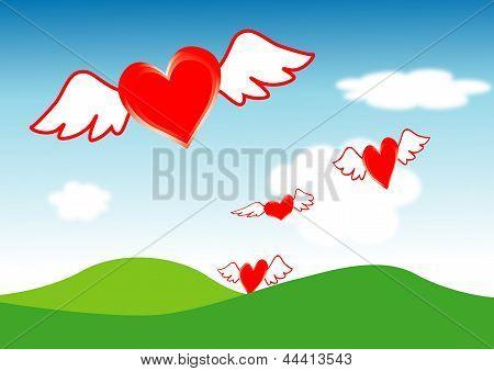 Hearts fly