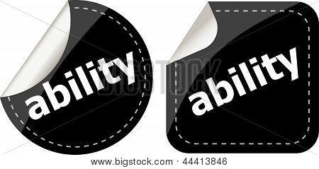Ability Word Black Stickers Set Icon Button