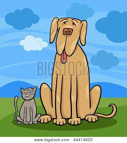 Small Cat And Big Dog Cartoon Illustration