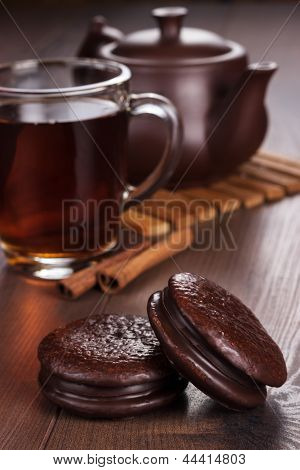chocolate cookies on table teatime concept
