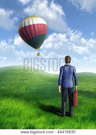 Businessman looking at an hot air balloon flying through the sky. Digital illustration.