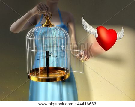 A young woman opening a cage to let an heart fly free. Digital illustration.