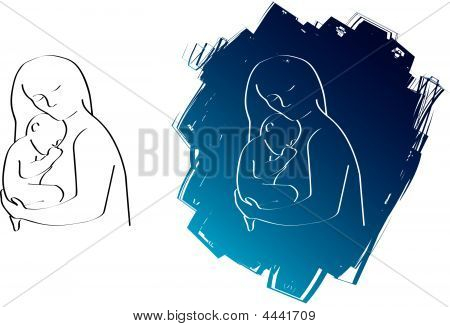Mum And Baby Drawing