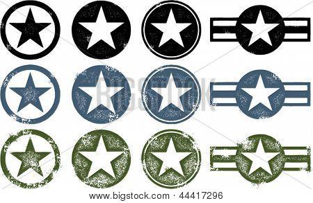 Vintage angustiadas militares estrelas