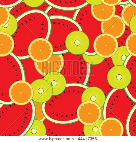 Seamless Background Template- Colorful Melons,kiwi,oranges Vector