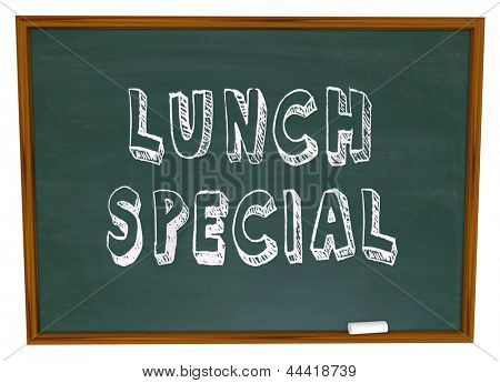 Lunch Special words on a restaurant chalkboard advertsing a daily meal discount or unique dish at a diner or eatery