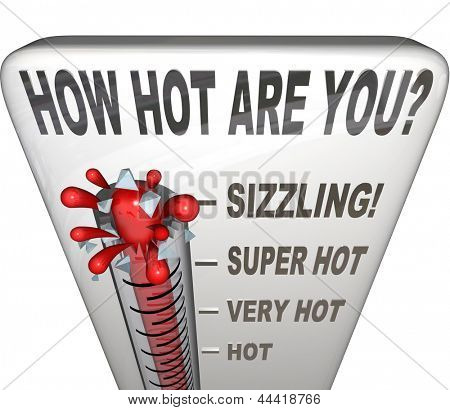 The question How Hot Are You on a thermometer measuring your attractiveness, sexiness, popularity, or just wondering what your temperature is