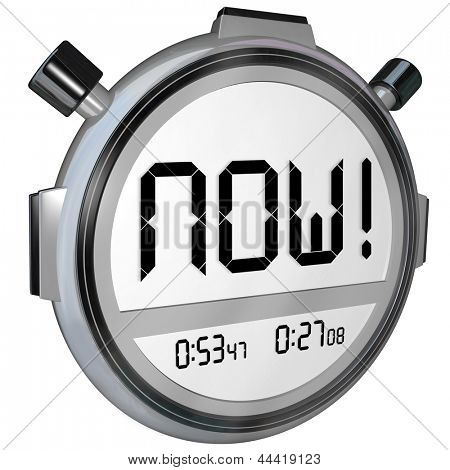 The word Now on a stopwatch timer digital display to represent the present, an urgent reminder of something important you must do or winning a competition