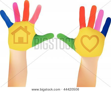 Mesh Vector EPS - 10 Child hands painted in colorful paints ready for hand prints