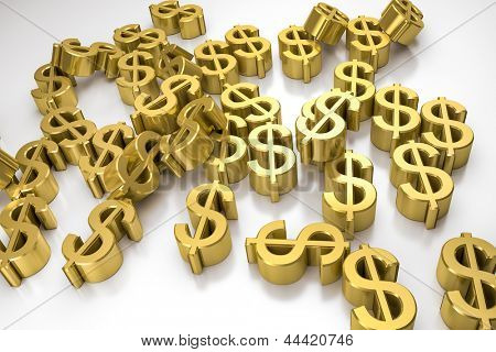 An image of some golden dollar signs on a white background