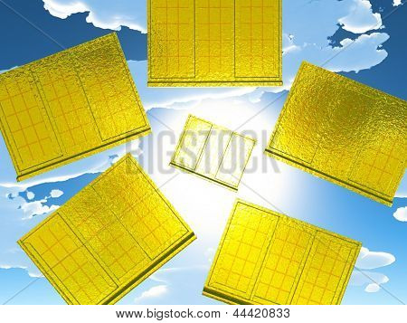 Golden windows of opportunity  overlooking  dramatic sky