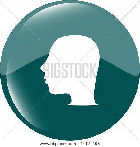 Botón del icono del cabezal de idea, Ilustración de arte