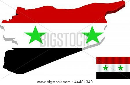 EPS Vector 10 - Map of Syria with Flag