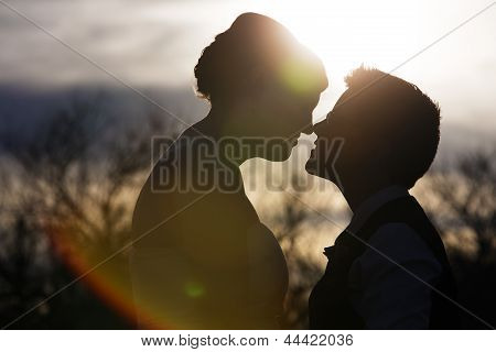 Back Lit Loving Couple