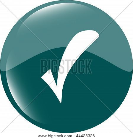 Green Glossy Web Button With Check Mark Sign. Rounded Square Shape Icon, art illustration