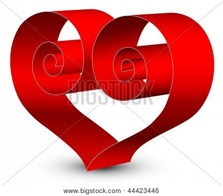 Valentine's day card.Heart of red ribbon. Rasterized illustration. Vector version in my portfolio