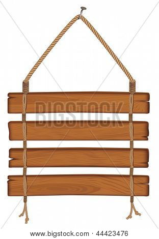 wooden sign hanging on a rope. Rasterized illustration. Vector version in my portfolio