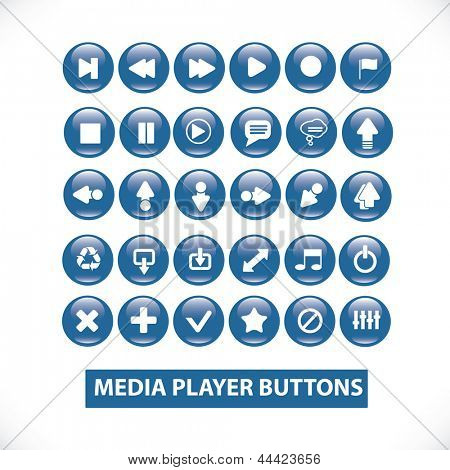 media player glossy circle buttons set for mobile and web design and application
