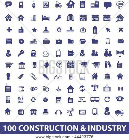 100 construction, architecture, industry, real estate icons set. vector