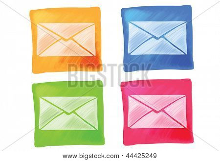 Mail Icons Hand Drawn in four different colors