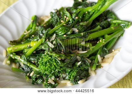 Stir fried rapinis and asparagus