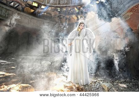 Beautifull Angel Woman In Theatre