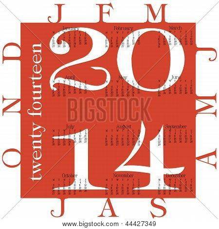 Red 2014 Calendar With Bold Numbers