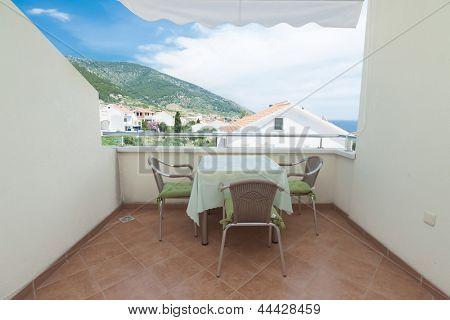 Terrace exterior of apartment in mediterranean environment