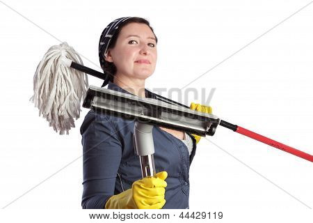 Cheerful Woman Housewife With Vacuum Cleaner And Cleaning Equipment.