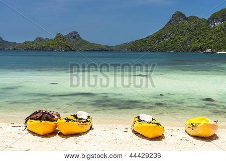 kayaks on a beach  at Angthong national marine park near Koh Samui, Thailand