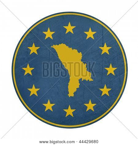 European Union Moldova button isolated on white background.