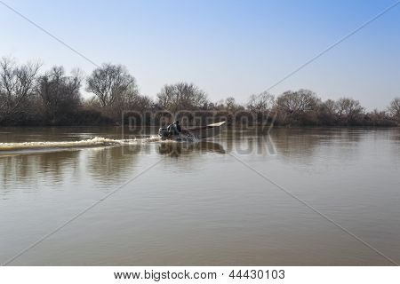 Boat In The River Of Evros In Autum
