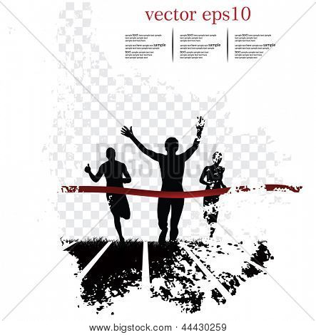 Background with runners. Vector illustration