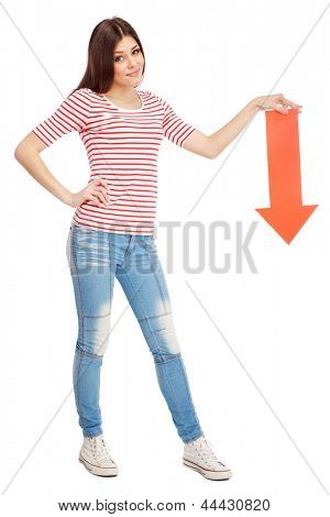 Young casual woman showing a direction with a red arrow