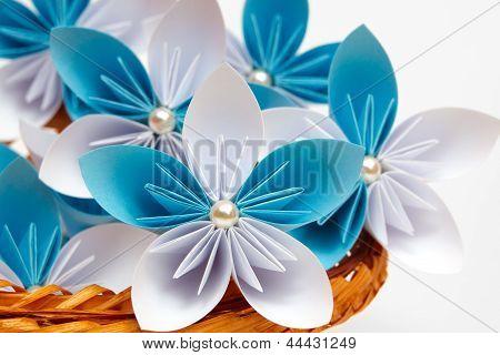 Paper flower in a basket