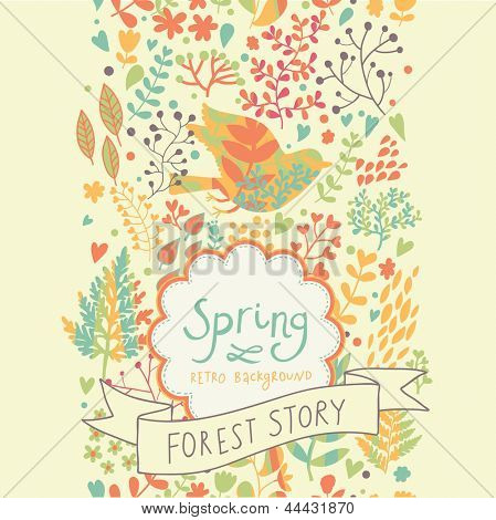 Bright vintage seamless pattern. Spring floral card. Ideal for wedding design and invitation. Seamless pattern can be used for wallpaper, pattern fills, web page backgrounds, surface textures.