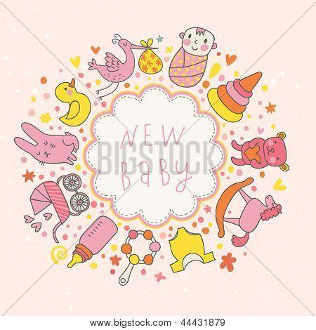 tarjeta de vector de bebé. Elementos infantiles de dibujos animados - carro de bebé, cigüeña, liebre, oso, traqueteo y otro en